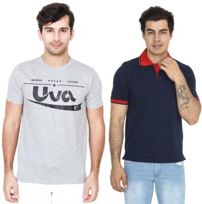 BrandTrendz Solid Men Round Neck Grey, Dark Blue T-Shirt(Pack of 2)