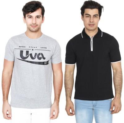 BrandTrendz Solid Men Round Neck Grey, Black T-Shirt(Pack of 2)