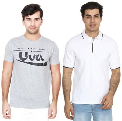 BrandTrendz Solid Men Round Neck Grey, White T-Shirt(Pack of 2)