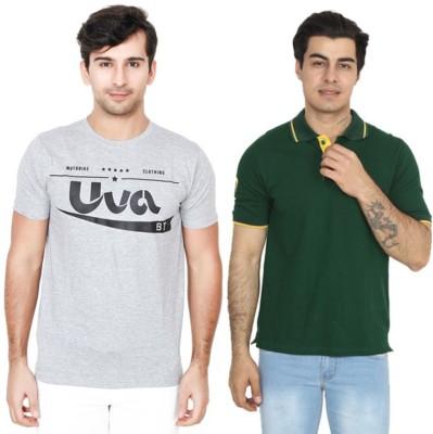 BrandTrendz Solid Men Round Neck Grey, Green T-Shirt(Pack of 2)