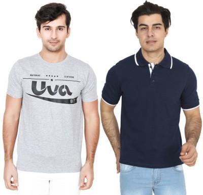 BrandTrendz Solid Men Round Neck Grey, Blue T-Shirt(Pack of 2)