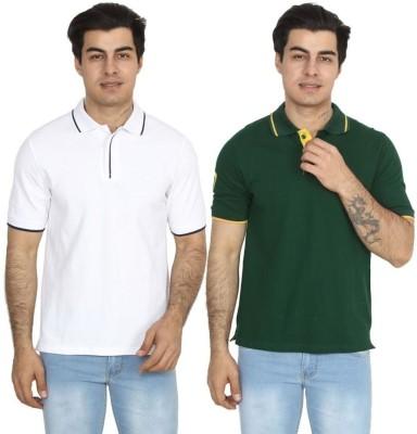 BrandTrendz Solid Men Polo Neck White, Green T-Shirt(Pack of 2)