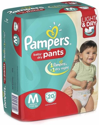 Pampers Pant Light And Dry M Diapers (20 Pieces)