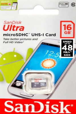 SanDisk ultra uhs-1 16 GB MicroSD Card Class 10 48 MB/s  Memory Card at flipkart
