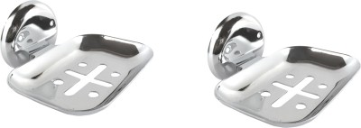 DECZO Crafty Look Set of 2 Stainless Steel Soap Holders(Silver)