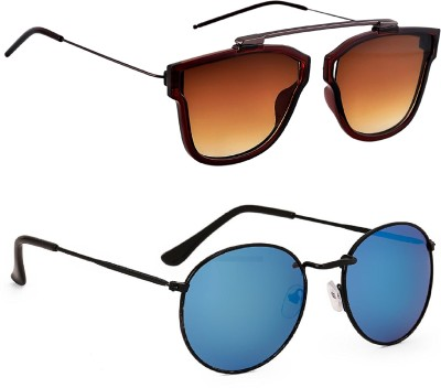 6eb576a055 63% OFF on TheWhoop Round Sunglasses(Blue) on Flipkart