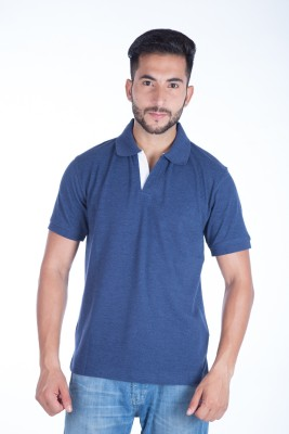 Clasy Solid Men's Polo Neck Blue T-Shirt