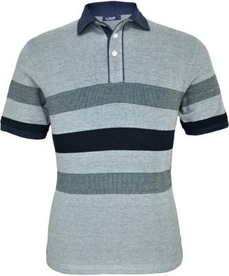 AXMANN Striped Men Polo Neck Blue T-Shirt
