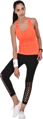 Active Soul Casual Sleeveless Solid Women Orange Top