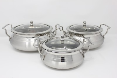 Premium Stainless Steel Biryani Combo Pack (3 Pcs) with Glass Lid Cookware Set(Stainless Steel)