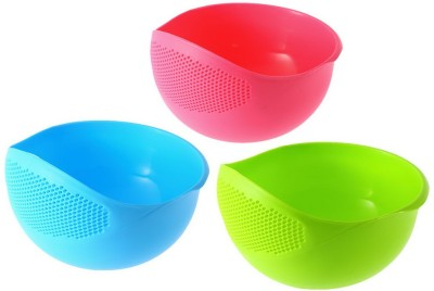 MUKTI Fruit Washing Bowl 3 pcs Plastic Fruit & Vegetable Basket(Multicolor) at flipkart