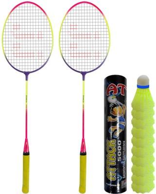 RIPR Sunrise color Leader badminton rackets set of 2 and shuttlecock plastic 10pcs combo Badminton Kit