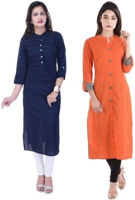 Stylum Casual Solid Women Kurti(Pack of 2, Multicolor)
