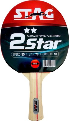 Stag 2 Star Blue, Red Unstrung Table Tennis Racquet(G4, Weight - 148 g)  available at flipkart for Rs.175
