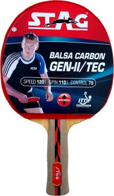 Stag Balsa Carbon gen 2 With Deluxe Case Table Tennis Racquet Red, Black Table Tennis Racquet(195 g)