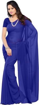 Kjs Solid Bollywood Georgette Saree(Dark Blue)
