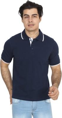 BrandTrendz Solid Men's Polo Neck Blue T-Shirt