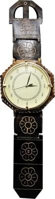Golddust Analog 80 cm X 24 cm Wall Clock(Black, With Glass)