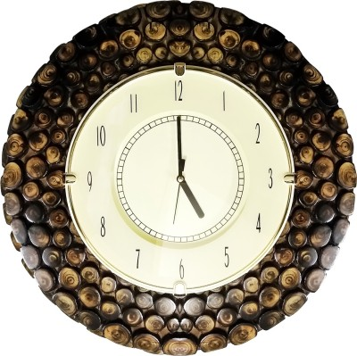 Golddust Analog 40 cm X 40 cm Wall Clock(Brown, With Glass)