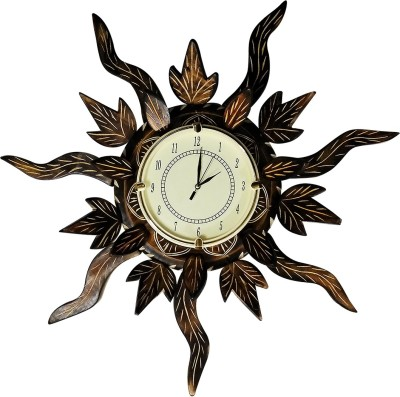 Golddust Analog 60 cm X 60 cm Wall Clock(Brown, With Glass)