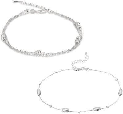 Yellow Chimes Love Beads Links Sterling Alloy Anklet(Pack of 2) at flipkart
