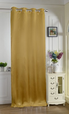 Lushomes 275 cm (9 ft) Polyester Long Door Curtain Single Curtain(Solid, Gold) at flipkart