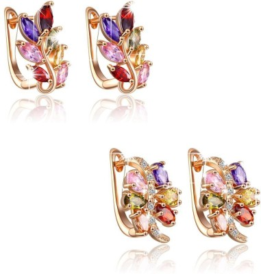 Yellow Chimes Combo Of Leafy & Curvy Crystal Alloy Clip-on Earring at flipkart