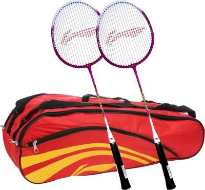 Li-Ning Smash XP 708 (Set of 2) Badminton Racquets + ABDJ118 Kitbag Red Badminton Kit