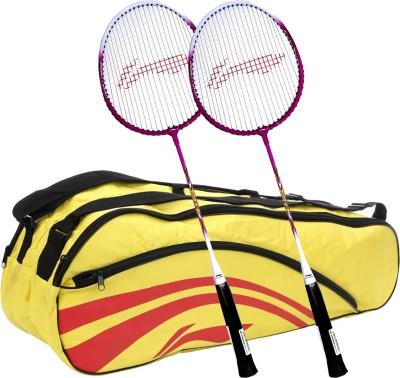 Li-Ning Smash XP 708 (Set of 2) Badminton Racquets + ABDJ118 Kitbag Yellow Badminton Kit