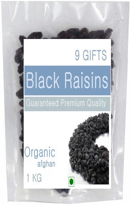 9 GIFTS afghanistan black seedless Raisins Pouch(1 kg)