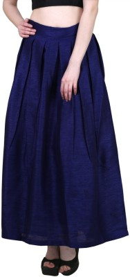 Shararat Solid Women Layered Dark Blue Skirt