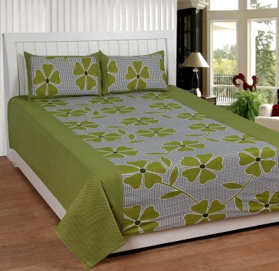 Home Fantasy Cotton Floral Double Bedsheet(1 Bedsheet, 2Piloow Cover, Green)