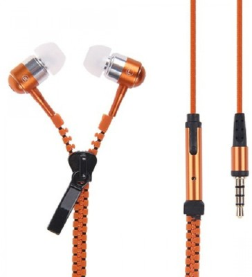 Technuv Stylist with powerful voice Zipper Wired Headset With Mic(Orange)