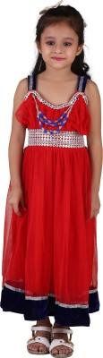Crazeis Girls Maxi/Full Length Party Dress(Red, Sleeveless) at flipkart