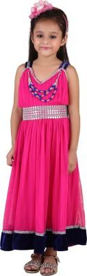 Crazeis Girls Maxi/Full Length Party Dress(Pink, Sleeveless) at flipkart