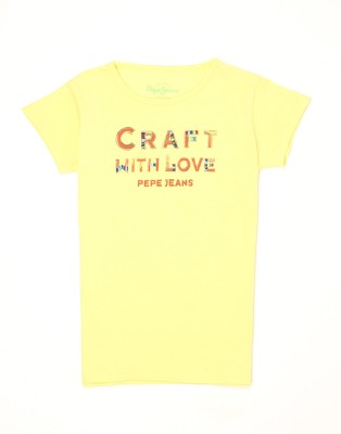 Pepe Jeans Girls Graphic Print Cotton T Shirt(Yellow, Pack of 1)  available at flipkart for Rs.250