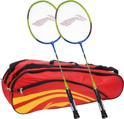 Li-Ning Smash XP 810 (Set of 2) Badminton Racquets + ABDJ118 Kitbag Red Badminton Kit