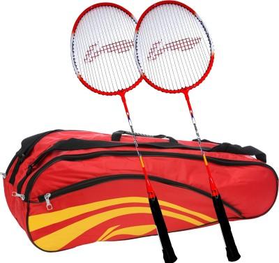Li-Ning Smash XP 709 (Set of 2) Badminton Racquets + ABDJ118 Kitbag Red Badminton Kit