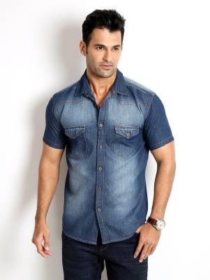Rodid Men's Solid Casual Denim Blue Shirt