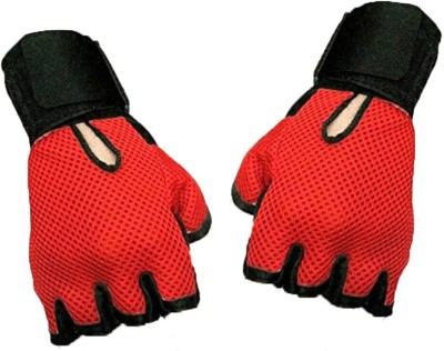 Alaska New Heavy leather Netted With Wrist Support Gym & Fitness Gloves (Free Size, Red, Black)  available at flipkart for Rs.99