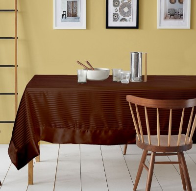 Lushomes Striped 6 Seater Table Cover(Chocolate, Polyester) at flipkart