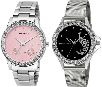 VIKINGS LADIES COMBO VK-LR110-PNK-BLK-CHN Watch  - For Girls   Watches  (VIKINGS)