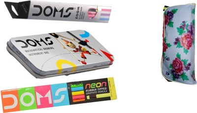 DOMS COMBO PACK OF ZOOM PENCILS ,NEON RUBBER TIPPED PENCILS ,GEOMETRY BOX , 1 POUCH STATIONERY SET  available at flipkart for Rs.269