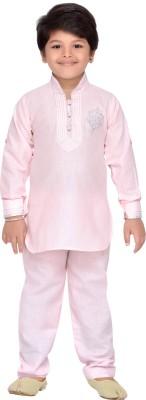 AJ Dezines Boys Casual, Festive & Party Pathani Suit Set(Pink Pack of 1)