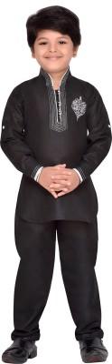 AJ Dezines Boys Casual, Festive & Party Pathani Suit Set(Black Pack of 1)