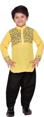 AJ Dezines Boys Casual, Festive & Party Pathani Suit Set(Yellow Pack of 1)