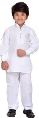 AJ Dezines Boys Casual, Festive & Party Pathani Suit Set(White Pack of 1)