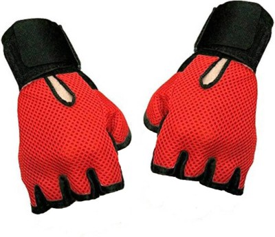 Alaska Netted HEAVY LEATHER PADDING With Wrist Support Gym & Fitness Gloves (M, Red)  available at flipkart for Rs.101