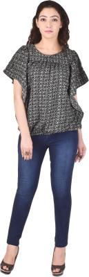 Saarvi Fashion Casual Half Sleeve Printed Women Black Top