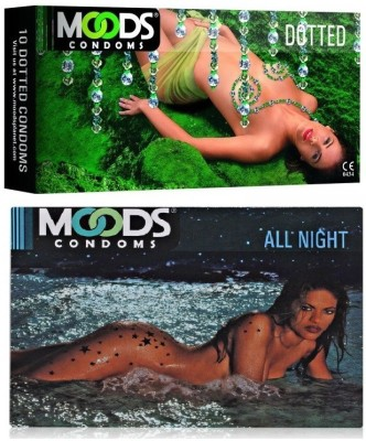 Moods Dotted & All Night Combo 2 (Concealed/Confidential Packaging) Condom(Set of 2, 20S)  available at flipkart for Rs.160